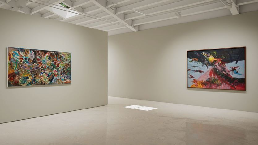 Exhibition view: Created in HWVR, Arshile Gorky & Jack Whitten, picturing Jack Whitten, Garden in Bessemer VI (1968) and NY Battle Ground (1967). © (2019) The Arshile Gorky Foundation / Artists Rights Society (ARS) / © Jack Whitten Estate. Courtesy the estates and Hauser & Wirth.