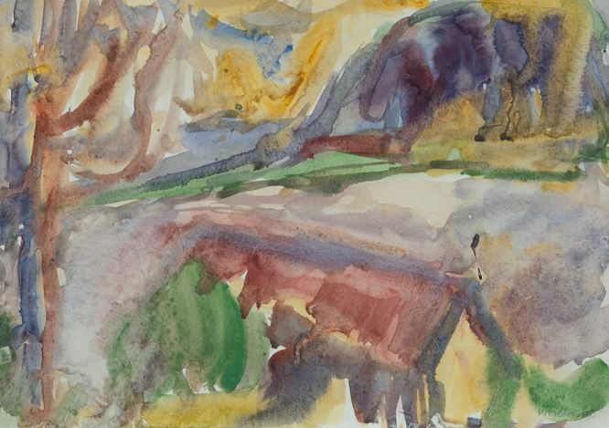 Mountford Tosswill Woollaston, Moana (Lake Brunner) (1967). Signed lower right, titled on verso. Watercolour on paper, 320mm x 410mm (unframed). Courtesy PAGE Galleries, Wellington.