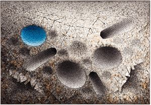 Aggregation 11 - FE014 Blue by Chun Kwang Young contemporary artwork