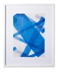 Faltungen Blau by Beat Zoderer contemporary artwork mixed media