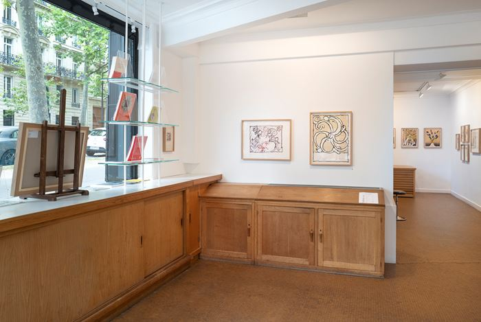 Exhibition view: Pierre Alechinsky, Prints from the 1960s and the 1970s, Galerie Lelong & Co., 13 rue de Téhéran, Paris (2–30 July 2020). Courtesy Galerie Lelong & Co.