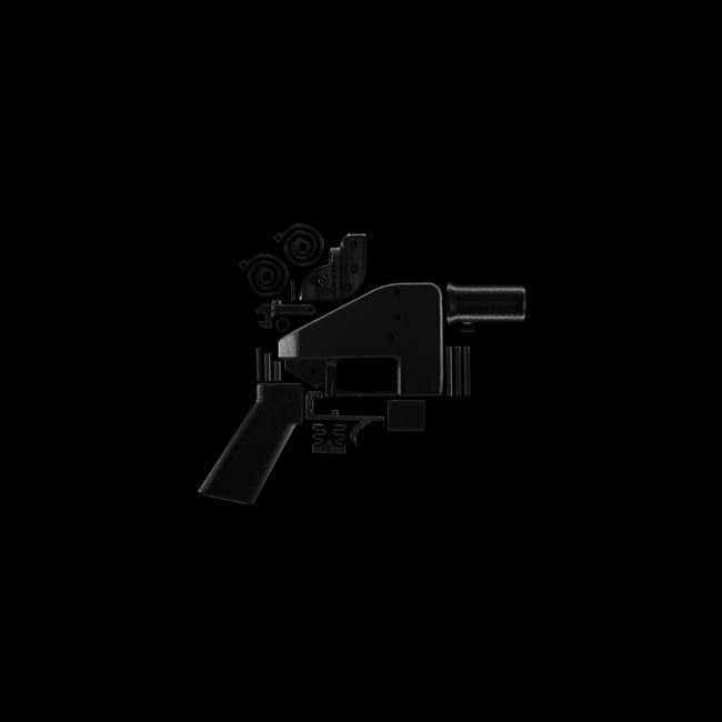 """Black Square XIII. """"The Liberator"""" is a 3D-printed handgun, printed on the MakerBot Replicator 1, in New York, NY on July 12, 2013, using black ABS plastic. Print time: 9 hours, 48 minutes. The online blueprints for the gun were downloaded over 100,000 times before the U.S. State Department demanded their removal from the creator's website. by Taryn Simon contemporary artwork"""