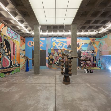 Exhibition view: Yann Gerstberger, ICE NEWS & FREEWAY FETISHES, Galería OMR, Mexico City (5 February–18 May 2019). Courtesy Galería OMR.