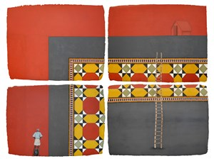 Chettinad Tile III (4-parts) by Desmond Lazaro contemporary artwork