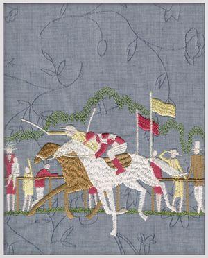 Jockey (brown, white) by Tobias Kaspar contemporary artwork