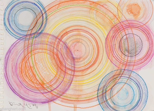7 Circles by Ding Yi contemporary artwork