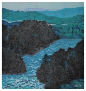 Light Clouds and Calm Water Among Cluster of Trees by LiU Yun contemporary artwork