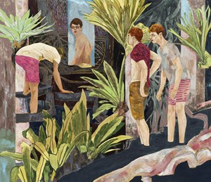 four bathers by a river by Hernan Bas contemporary artwork