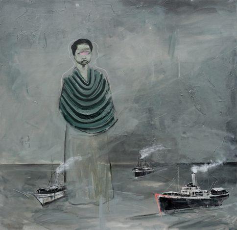 Syam Terrajana, Musim Buru (Hunting Season) (2021). Acrylic on canvas, 120 x 120 cm. Courtesy Gajah Gallery.
