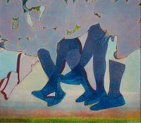 A Lot of Dark Blue Legs and Patches of Color by Tang Yongxiang contemporary artwork painting
