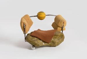 Sofa Sculture with Basketball and Scholar's Rocks by Zhou Yilun contemporary artwork