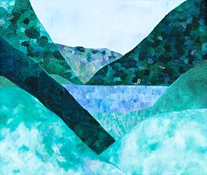Landscape (Hills and Blue Lake) by Sally Ross contemporary artwork