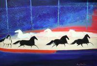 Cavalcade dans le cirque by Andre Brasilier contemporary artwork painting