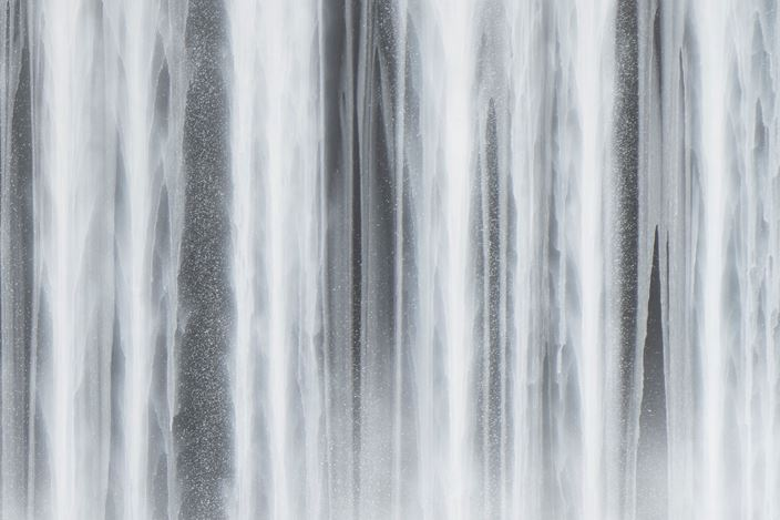 Hiroshi Senju, Waterfall (2020). Natural pigments on Japanese mulberry paper mounted on board. 182 x 455 cm. Courtesy Sundaram Tagore Gallery.