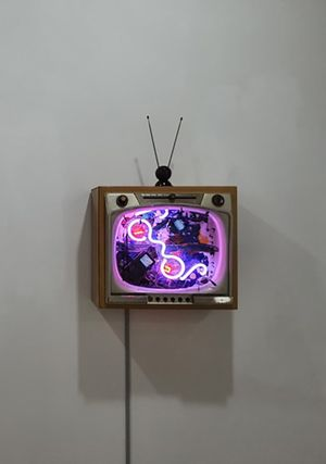 Neon TV - Heaven and Earth by Nam June Paik contemporary artwork sculpture, mixed media