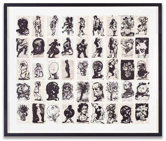 William Kentridge, Pocket Drawings 187-241 (2016). 3 run lithographic print on 63 panels, mounted on cotton fabric. Edition of 25 + 3AP. 80.3 x 98.1 cm; 94.6 x 112.4 x 7 cm (incl. frame). Courtesy Marian Goodman Gallery.