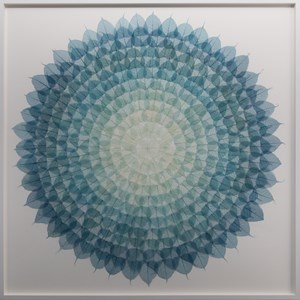 Teal Cerulean Mandala by Miya Ando contemporary artwork