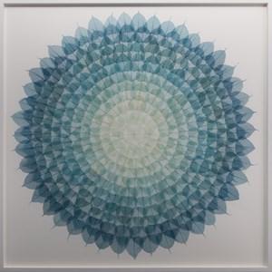 Teal Cerulean Mandala by Miya Ando contemporary artwork