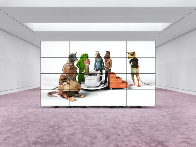 Exhibition view: Jordan Wolfson,Riverboat song,David Zwirner, 19th Street, New York (2 May–23 June 2018). Courtesy the artist and David Zwirner.