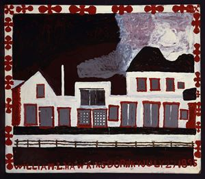 White Building with Silver Windows by William Hawkins contemporary artwork painting