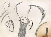 Personnages et oiseau devant la lune by Joan Miró contemporary artwork drawing