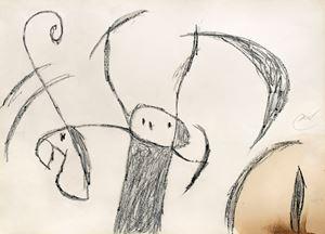 Personnages et oiseau devant la lune by Joan Miró contemporary artwork