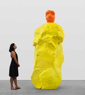 orange yellow monk by Ugo Rondinone contemporary artwork