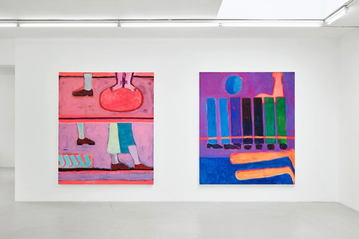 Exhibition view: Katherine Bradford, Legs and Stripes, Campoli Presti, London (31 May–27 July 2019). Courtesy Campoli Presti.