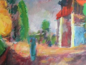 Front of the Bolgatty Palace, Morning by Sargy Mann contemporary artwork