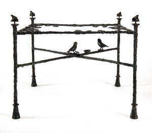 Table-feuilles, modèle bas aux grenouilles et oiseaux by Diego Giacometti contemporary artwork