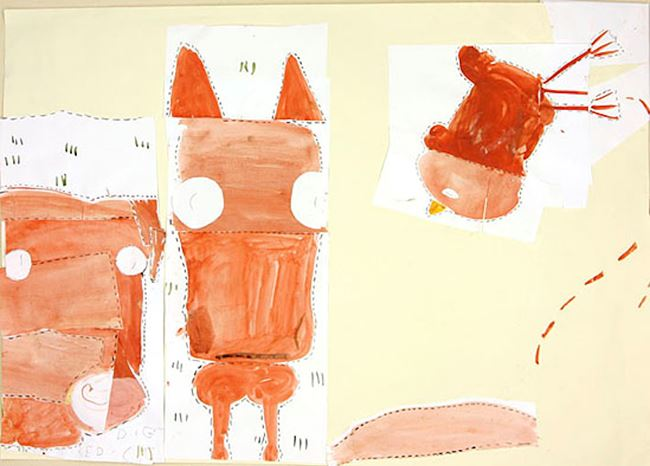 Horse, Pig & Chicken (fairy tale) by Rose Wylie contemporary artwork