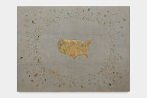 Broken Glass on Map by Yukinori Yanagi contemporary artwork sculpture