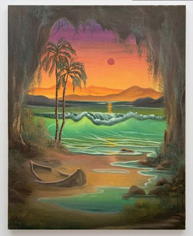 Neil Raitt, Emerald Cave, 2021. Oil on canvas. 50 cm x 40 cm. Courtesy Anat Ebgi, Mid Wilshire/Culver City.