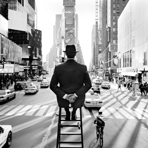 Man On Ladder in Times Square, New York, NY by Rodney Smith contemporary artwork