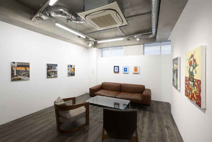 Installation view, artwork, left to right: Marius Bercea; Lily Stockman; Hilary Pecis. Courtesy of MAKI.