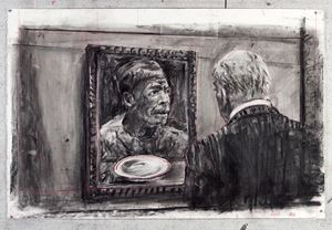 Drawing for City Deep (Soho Gazing at Portrait) by William Kentridge contemporary artwork works on paper, drawing