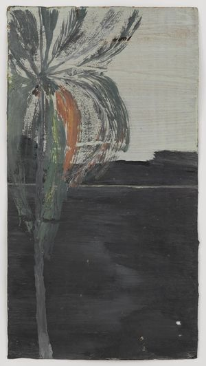 Untitled (Single palm with black mountains and ocean behind) by Frank Walter contemporary artwork