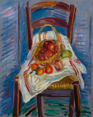 Corbeille de fruits sur une chaise by Charles Camoin contemporary artwork