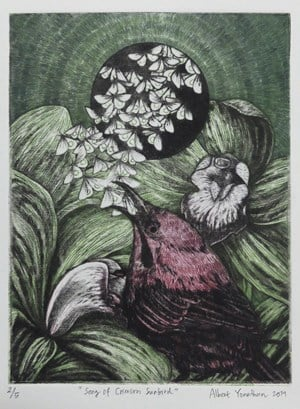 Song of Crimson Sunbird by Albert Yonathan Setyawan contemporary artwork
