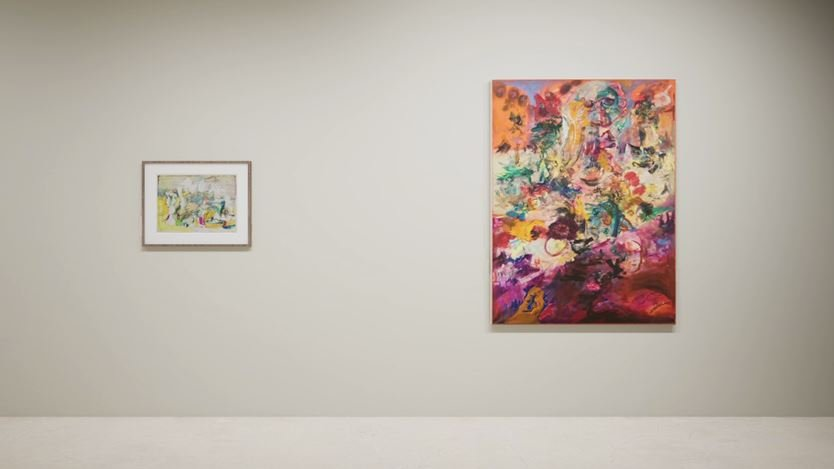 Exhibition view: Created in HWVR, Arshile Gorky & Jack Whitten, picturing Arshile Gorky, Virginia Landscape (c. 1944) and Jack Whitten, King's Wish (Martin Luther's Dream) (1968). © (2019) The Arshile Gorky Foundation / Artists Rights Society (ARS) / © Jack Whitten Estate. Courtesy the estates and Hauser & Wirth.
