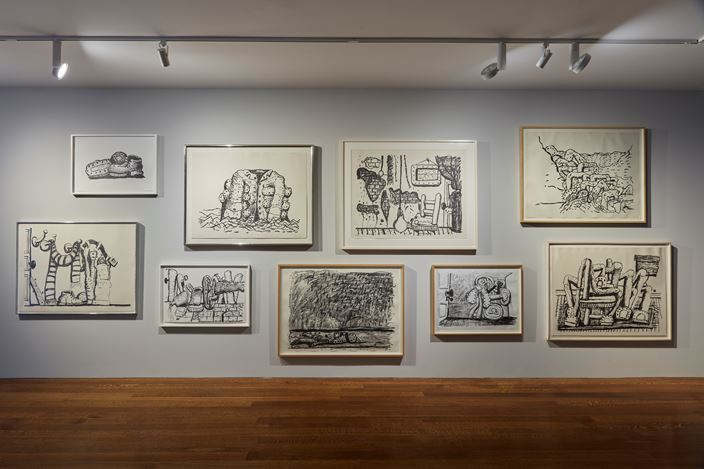 Exhibition view: Philip Guston, The Last Lithographs, Timothy Taylor, New York (14 September–20 October 2018). Courtesy Timothy Taylor.