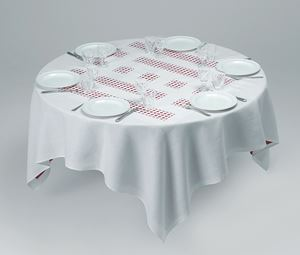 Unique Tablecloth with Laser-cut Lace (Object to be Situated on Table), 2002 (For Parkett 66) by Daniel Buren contemporary artwork