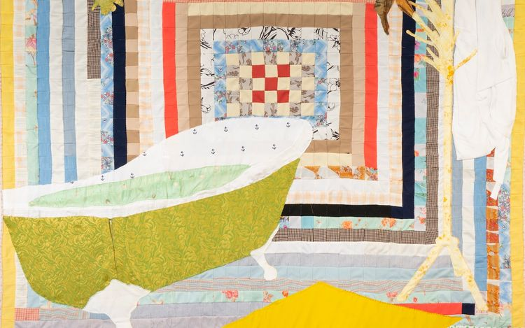 Jesse Krimes, Arrowhead(2021) (detail). Antique quilt, used clothing collected from incarcerated people, assorted textiles. 81 x 81inches. Courtesy Malin Gallery.