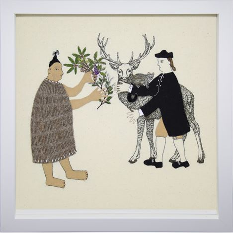 Sarah Munro, Trade Items - Understorey, Possum, Deer (2019). Cloth and thread. Courtesy PAGE Galleries.