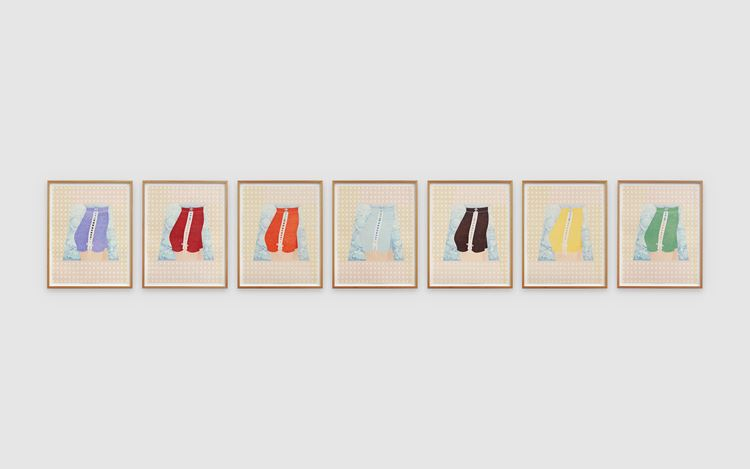 Donna Huddleston, Transitional Drawing (2015–2020).Caran d'ache on paper. 7 parts, each: 55 x 40 cm. Courtesy the artist and Simon Lee Gallery.