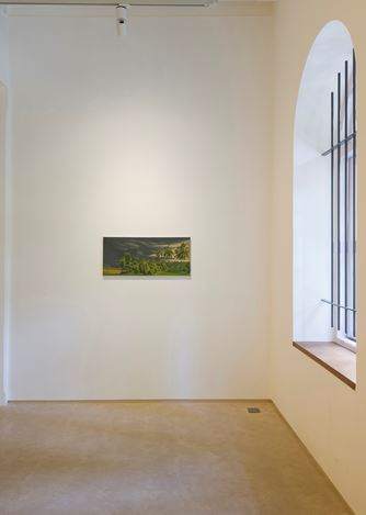 Exhibition view: Aji V.N., New Oils on Canvas, Galerie Mirchandani + Steinruecke, Mumbai (9 August–30 September 2017). Courtesy Galerie Mirchandani + Steinruecke, Mumbai.