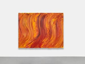 Untitled (Old Holland gold lake / Permanent yellow light / Scarlet lake extra) by Jason Martin contemporary artwork
