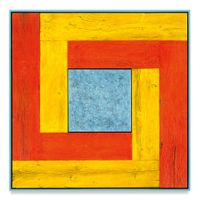 Untitled (Tree Painting-Double L, Yellow, Orange, and Light Blue) by Douglas Melini contemporary artwork painting, works on paper, sculpture
