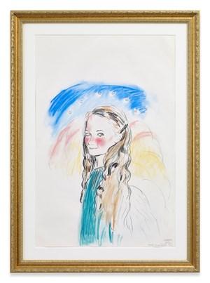 the Annunciation Assumption, by Leonardo da Vinci (cheeks like Gainsborough girl with milk jug + pig) by Karen Kilimnik contemporary artwork