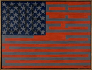 Black Light Series #10 Flag for the Moon: Die Nigger by Faith Ringgold contemporary artwork